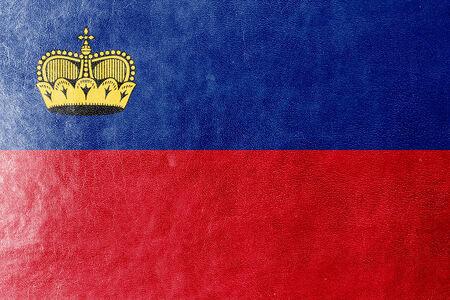 lichtenstein: Lichtenstein Flag painted on leather texture