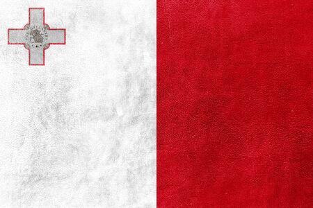 malta flag: Malta Flag painted on leather texture Stock Photo