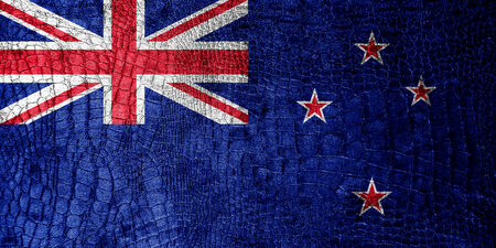 New Zealand Flag painted on luxury crocodile texture photo