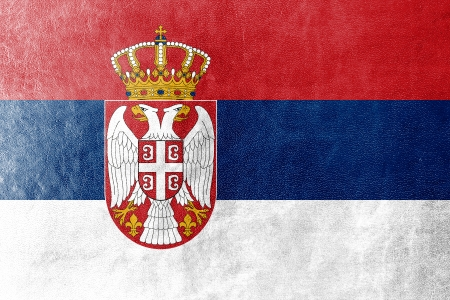 Serbia Flag painted on leather texture photo