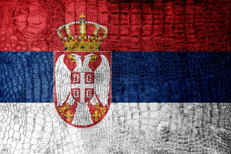 Serbia Flag painted on luxury crocodile texture photo