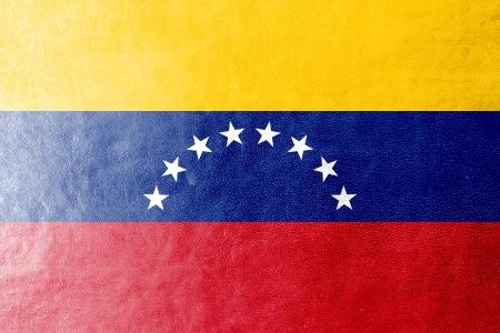 Venezuela Flag painted on leather texture photo
