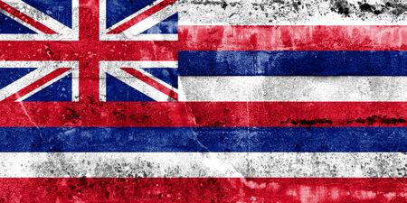 hawaii flag: Hawaii Flag painted on grunge wall Stock Photo