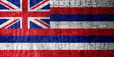 kona: Hawaii Flag painted on luxury crocodile texture