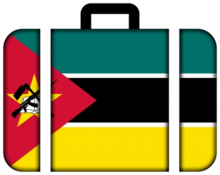 Mozambique: Suitcase with Mozambique Flag Stock Photo