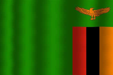 zambia: Waving Zambia Flag Stock Photo