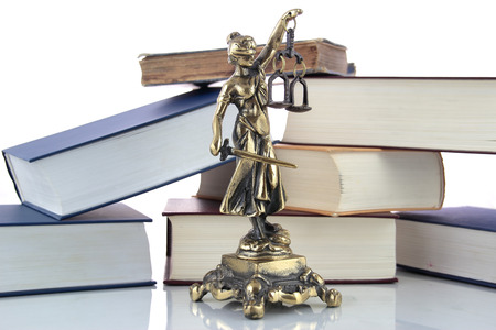 justice statue: Justice Statue and books.  Stock Photo