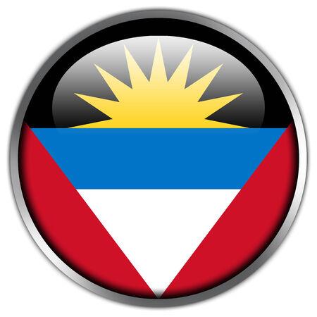 barbuda: Antigua and Barbuda Flag glossy button Stock Photo