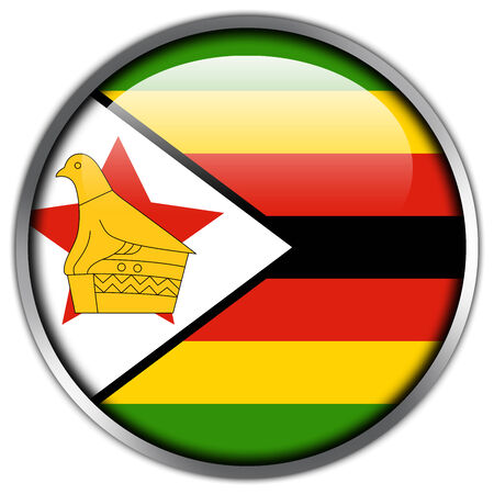 Zimbabwe Flag glossy button photo
