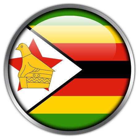 zimbabwe: Zimbabwe Flag glossy button Stock Photo