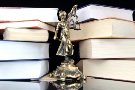 brawn: Justice Statue and books. Lawyer background