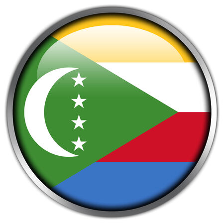 comoros: Comoros Flag glossy button Stock Photo