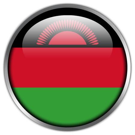 landlocked: Malawi Flag glossy button Stock Photo