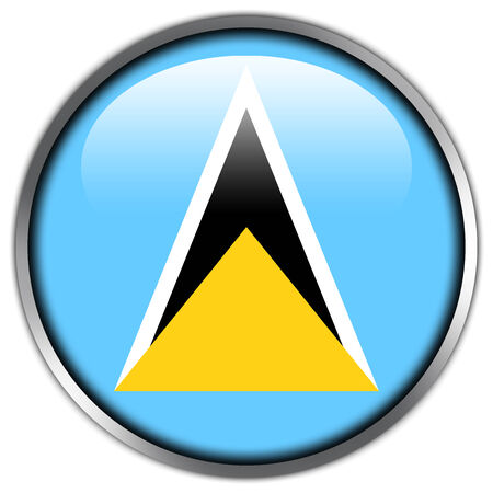lucia: Saint Lucia Flag glossy button Stock Photo