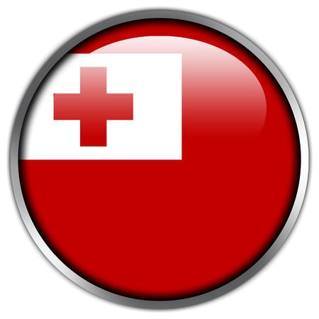 Tonga Flag glossy button Stock Photo