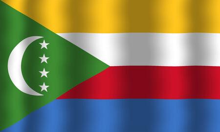 comoros: Waving Comoros Flag Stock Photo