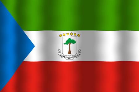 equatorial guinea: Waving Equatorial Guinea Flag Stock Photo