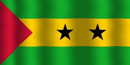 principe: Ondeando la bandera de Sao Tome y Principe Foto de archivo