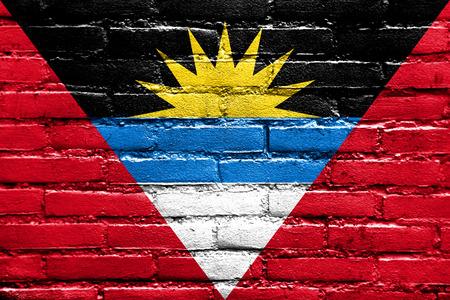 proportional: Antigua and Barbuda Flag painted on brick wall