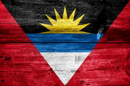 antigua flag: Antigua and Barbuda Flag painted on old wood plank texture