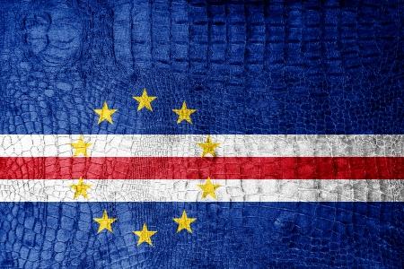 cape verde flag: Cape Verde Flag painted on luxury crocodile texture Stock Photo