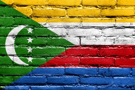 comoros: Comoros Flag painted on brick wall