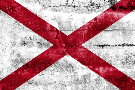 Alabama State Flag painted on grunge wall photo