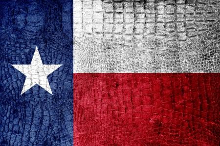 Texas State Flag painted on luxury crocodile texture
