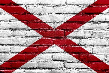 Alabama State Flag painted on brick wall photo