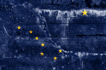 solid state: Alaska State Flag painted on grunge wall