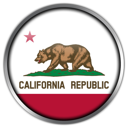 California State Flag glossy button Stock Photo