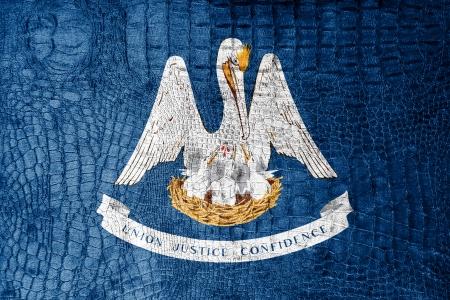 identidad cultural: Bandera del estado de Louisiana pintada en textura de cocodrilo de lujo Foto de archivo