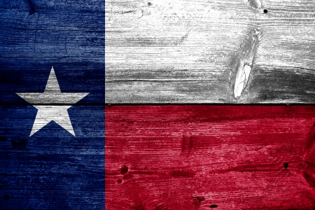 Texas State Flag painted on old wood plank texture