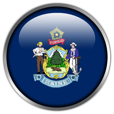 maine: Maine State Flag glossy button