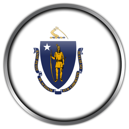 Massachusetts State Flag glossy button photo