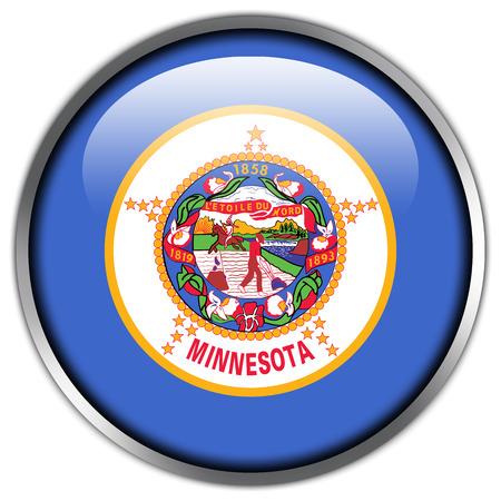 Minnesota State Flag glossy button photo