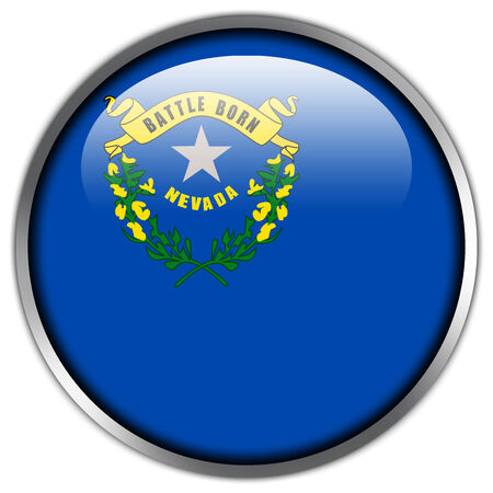 Nevada State Flag glossy button photo