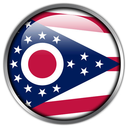 Ohio State Flag glossy button photo