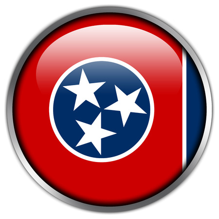 Tennessee State Flag glossy button Stock Photo