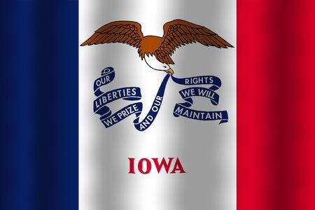 iowa: Waving Iowa State Flag Stock Photo