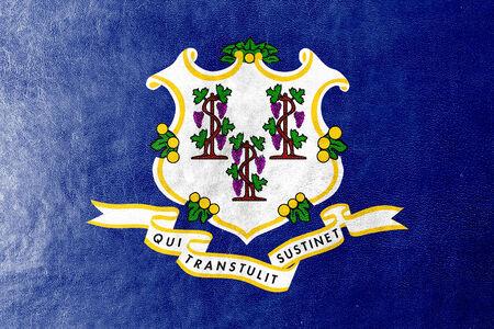 identidad cultural: Bandera del estado de Connecticut pintada en textura de cuero