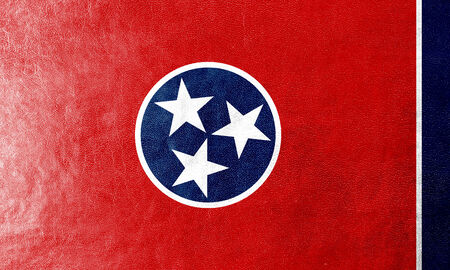 Tennessee State Flag painted on leather texture photo