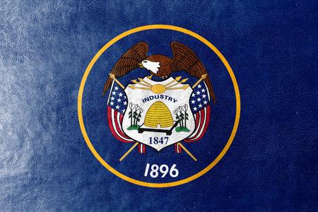 mormon: Utah State Flag painted on leather texture