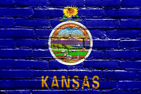 kansas state flag painted on brick wall stock photo picture and