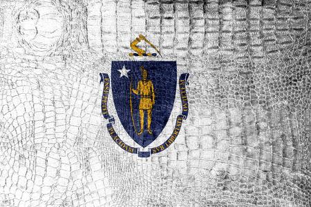 Massachusetts State Flag painted on luxury crocodile texture