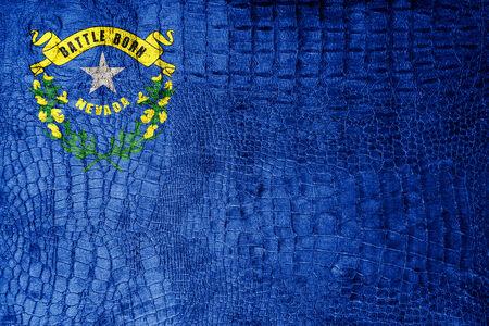 grimy: Nevada State Flag painted on luxury crocodile texture