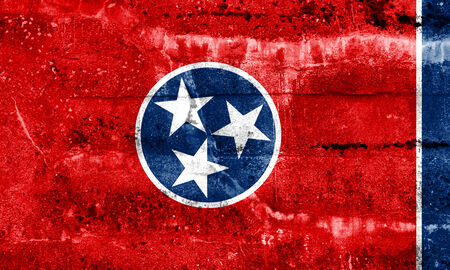 Tennessee State Flag painted on grunge wall photo
