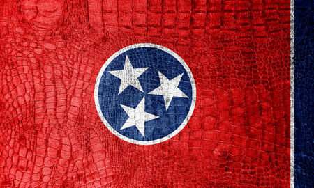 Tennessee State Flag painted on luxury crocodile texture photo