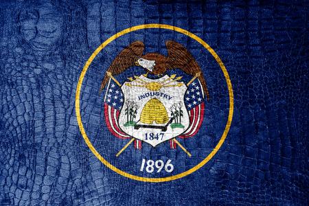 mormon: Utah State Flag painted on luxury crocodile texture