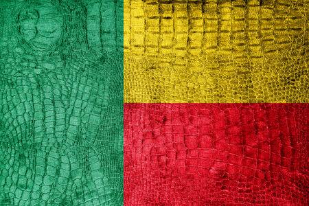 Benin Flag painted on luxury crocodile texture